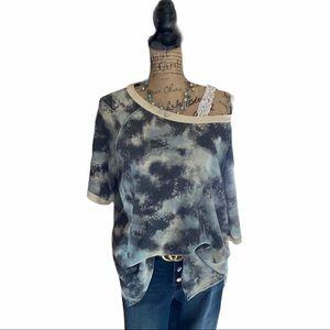 Honeyme blue/white patterned short sleeve shirt
